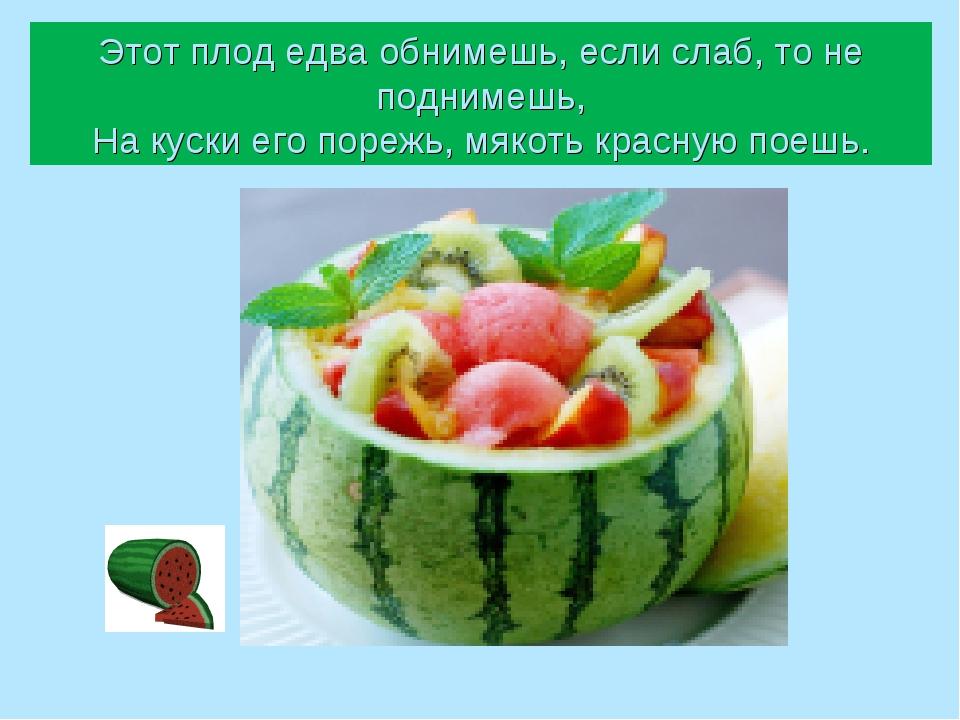 Этот плод едва обнимешь, если слаб, то не поднимешь, На куски его порежь, мяк...