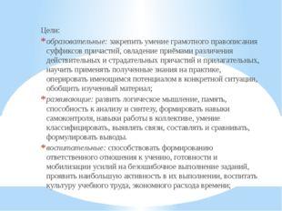 Цели: образовательные:закрепить умение грамотного правописания суффиксов при