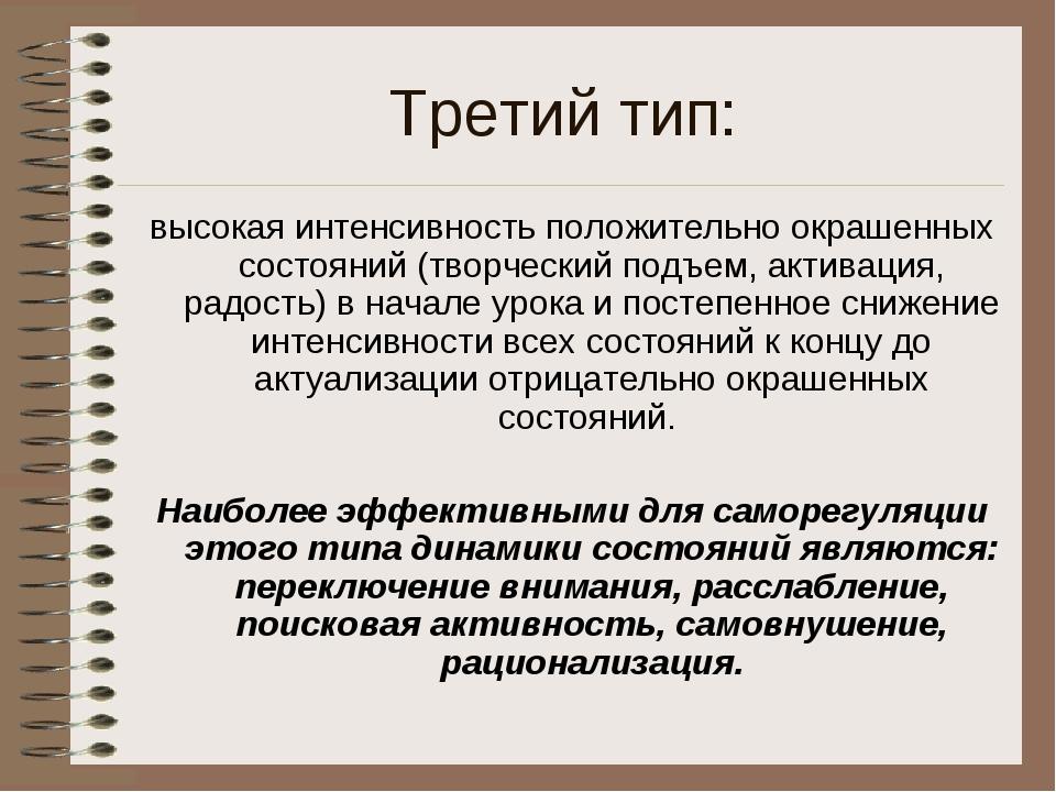Третий тип: высокая интенсивность положительно окрашенных состояний (творческ...