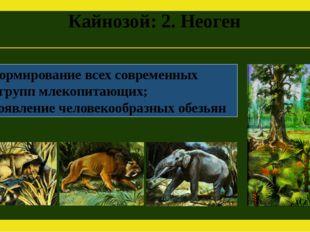 Кайнозой: 2. Неоген Формирование всех современных групп млекопитающих; Появле