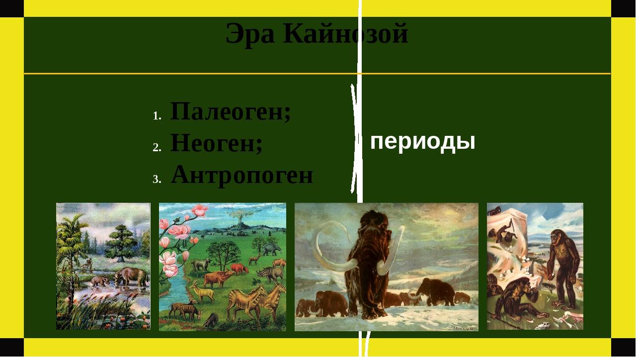 Эра Кайнозой Палеоген; Неоген; Антропоген периоды