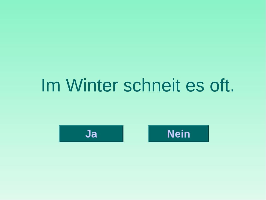 Im Winter schneit es oft. Nein Ja