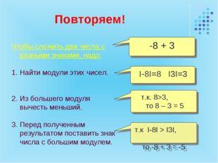 Повторяем! Чтобы сложить два числа с разными знаками, надо: Найти модули этих