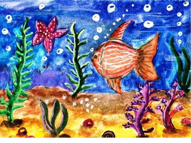 детские рисунки подводный замок