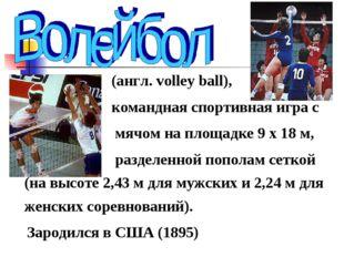 (англ. volley ball), командная спортивная игра с мячом на площадке 9 х 18 м,