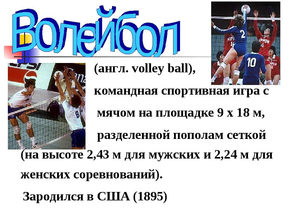 (англ. volley ball), командная спортивная игра с мячом на площадке 9 х 18 м,...
