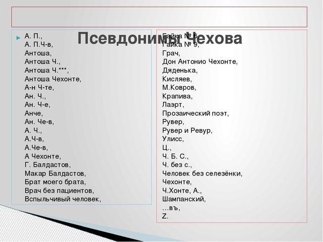 Псевдонимы Чехова А. П., А. П.Ч-в, Антоша, Антоша Ч., Антоша Ч.***, Антоша Ч...