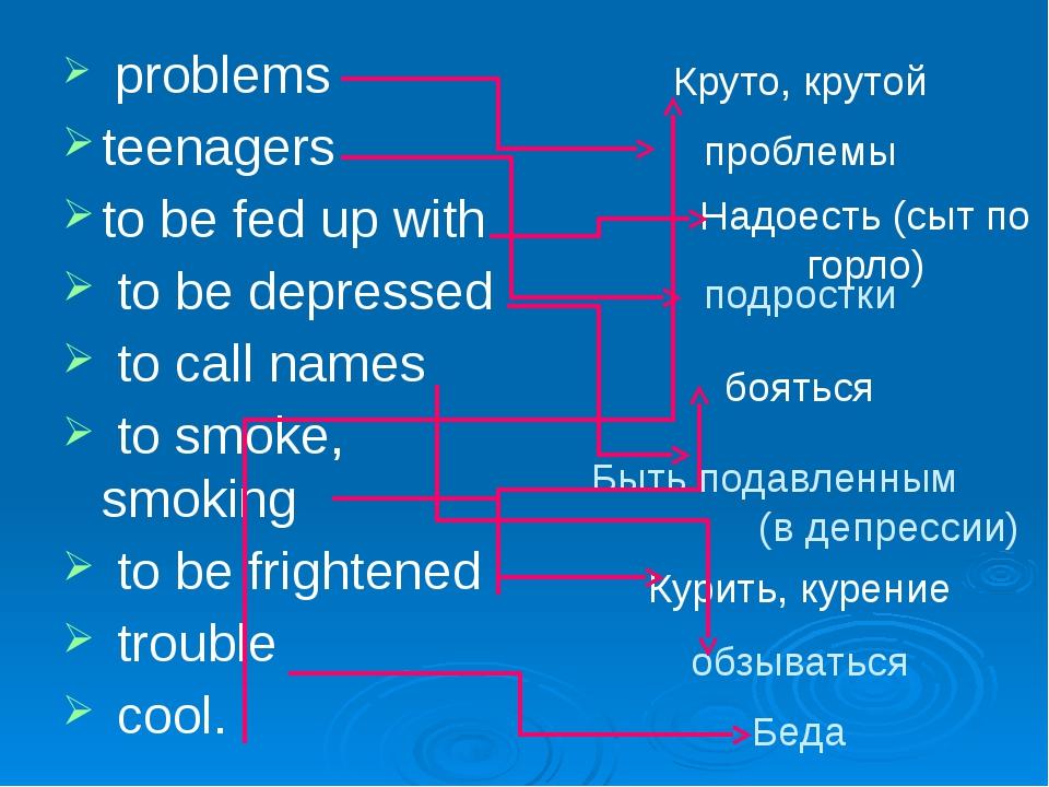 Быть подавленным (в депрессии) problems teenagers to be fed up with to be dep...