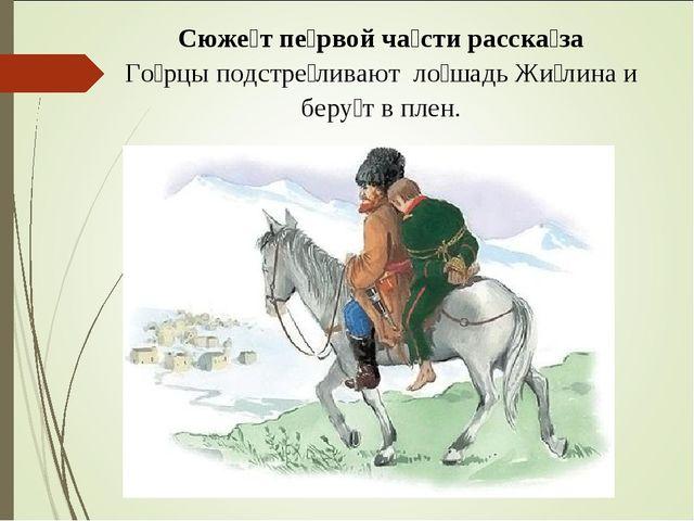 Сюже́т пе́рвой ча́сти расска́за Го́рцы подстре́ливают ло́шадь Жи́лина и беру́...