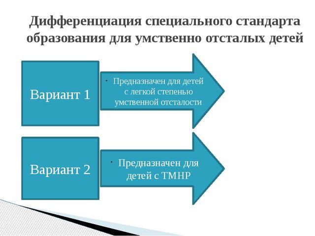 Дифференциация специального стандарта образования для умственно отсталых дет...