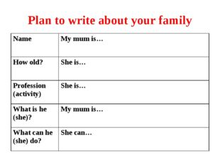 Plan to write about your family NameMy mum is… How old?She is… Profession (