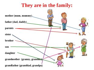 They are in the family: mother (mum, mummy) father (dad, daddy) parents siste