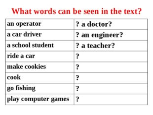 What words can be seen in the text? аn operator? a doctor? a car driver? an