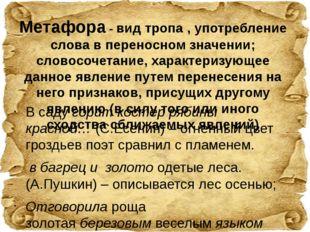 Метафора - вид тропа , употребление слова в переносном значении; словосочетан