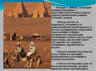 Фелидж — шатер, служащий жилищем бедуинам — представителям кочевого народа т