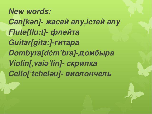 New words: Can[kәn]- жасай алу,істей алу Flute[flu:t]- флейта Guitar[gita:]-г...