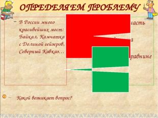 ОПРЕДЕЛЯЕМ ПРОБЛЕМУ В России много красивейших мест: Байкал, Камчатка с Долин