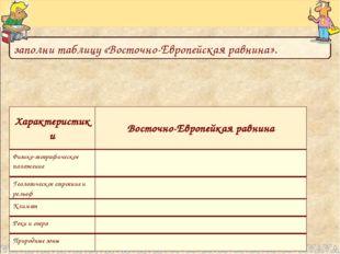 заполни таблицу «Восточно-Европейская равнина». Характеристики Восточно-Европ