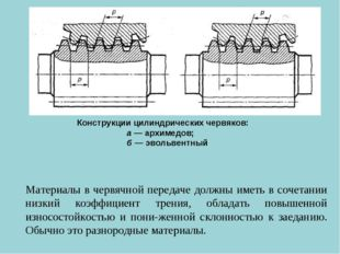 Материалы в червячной передаче должны иметь в сочетании низкий коэффициент тр