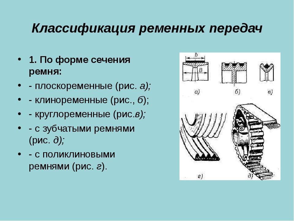 Классификация ременных передач 1. По форме сечения ремня: - плоскоременные (р...