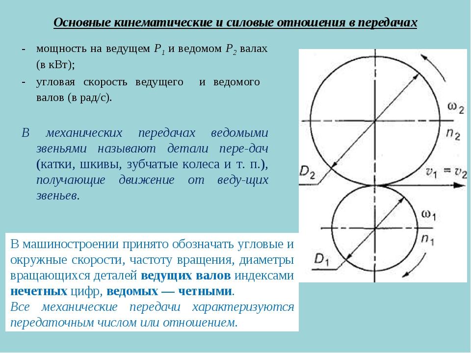 Основные кинематические и силовые отношения в передачах мощность на ведущем Р...