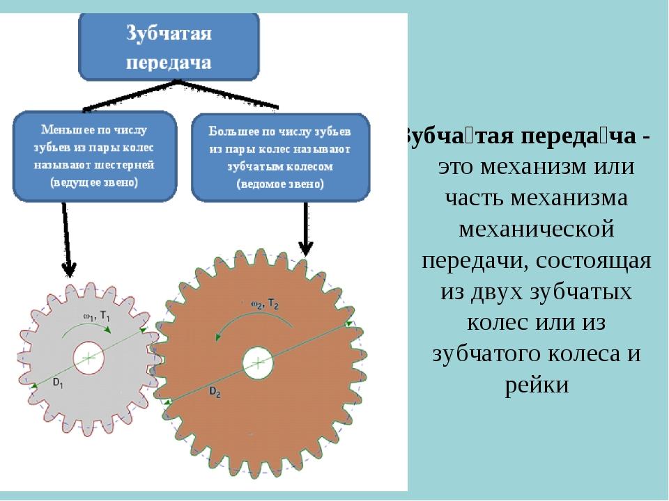 Зубча́тая переда́ча - это механизм или часть механизма механической передачи,...