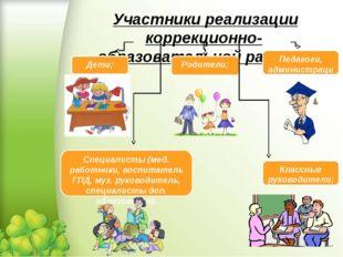 Участники реализации коррекционно-образовательной работы Дети; Родители; Пед