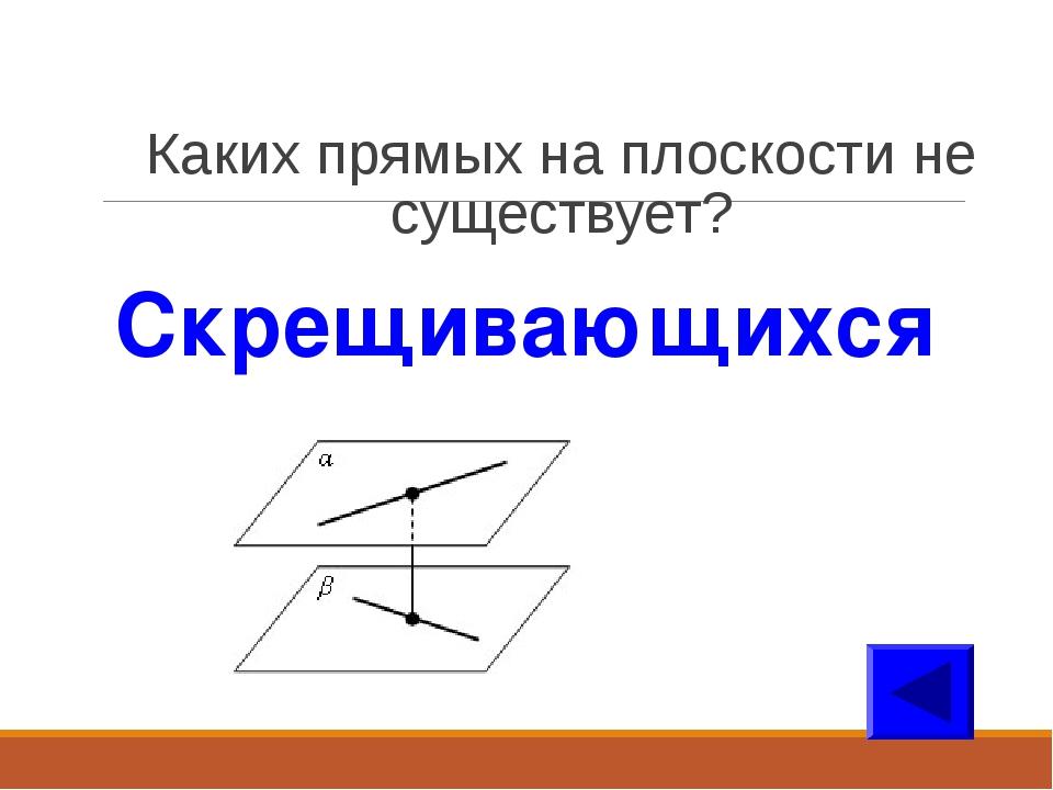 Каких прямых на плоскости не существует? Скрещивающихся