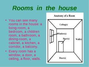 Rooms in the house You can see many rooms in the house: a living-room, a bedr
