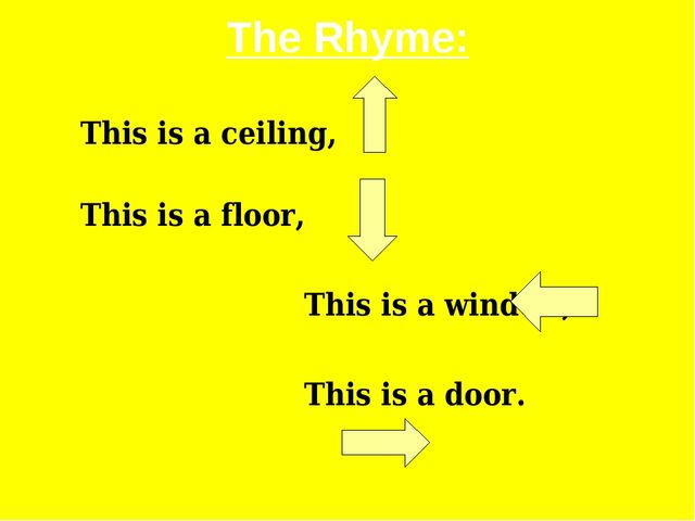 The Rhyme: This is a ceiling,						 This is a floor, This is a window, This i...