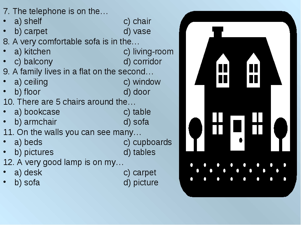 7. The telephone is on the… a) shelf			c) chair b) carpet			d) vase 8. A very...