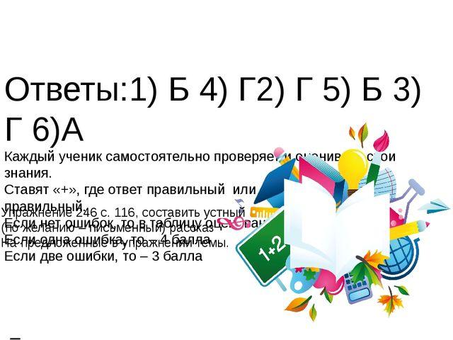 Ответы:1) Б 4) Г2) Г 5) Б3) Г 6)А Каждый ученик самостоятельно проверяет и...