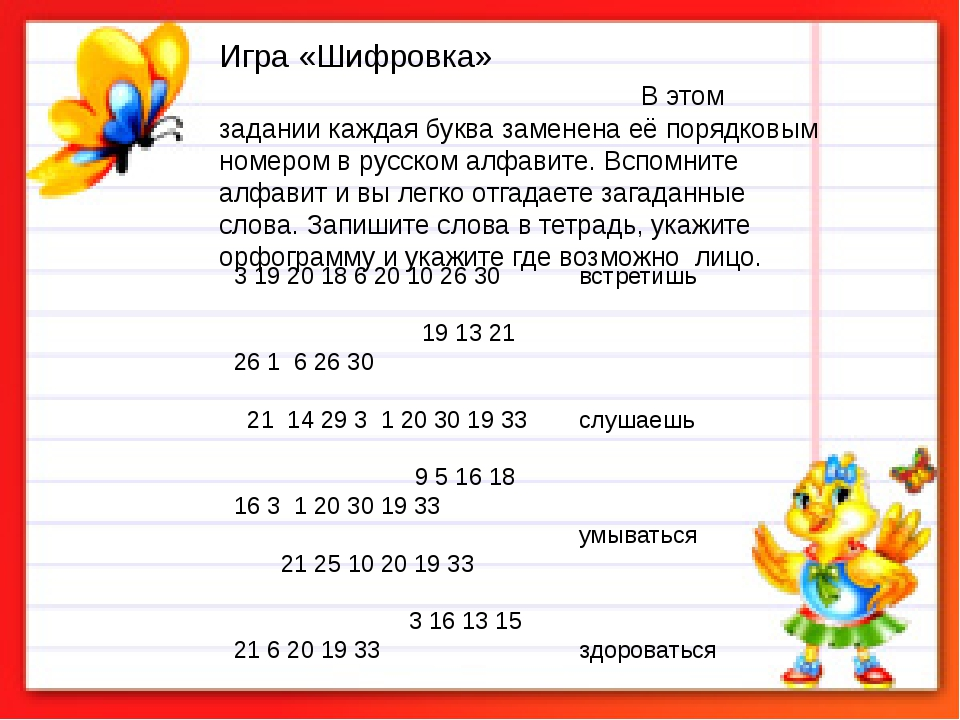 Игра «Шифровка» В этом задании каждая буква заменена её порядковым номером в...
