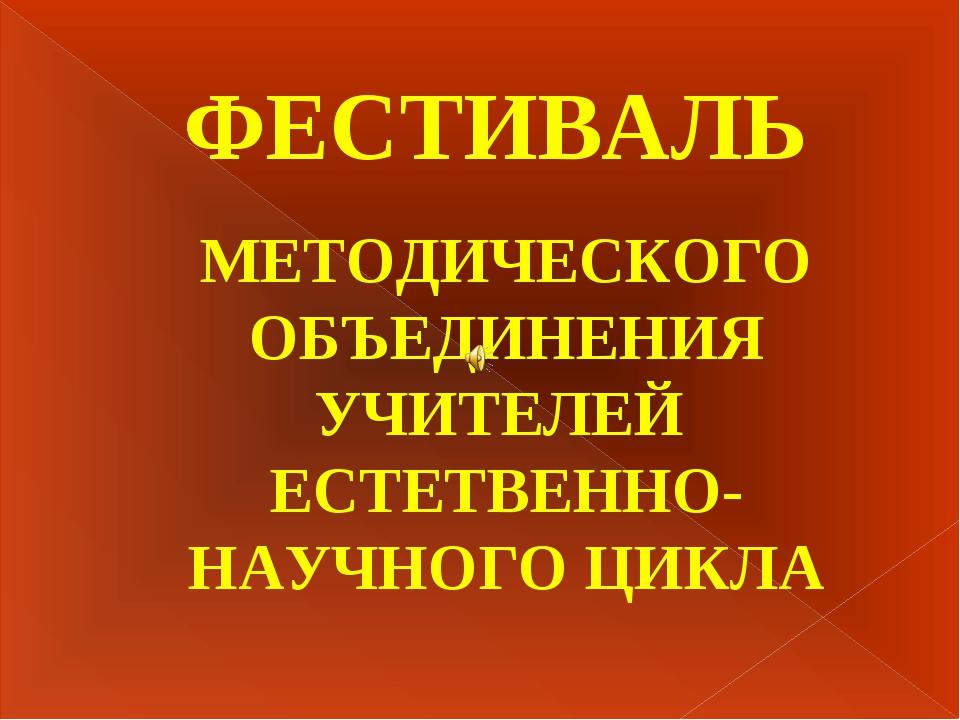 ФЕСТИВАЛЬ МЕТОДИЧЕСКОГО ОБЪЕДИНЕНИЯ УЧИТЕЛЕЙ ЕСТЕТВЕННО-НАУЧНОГО ЦИКЛА