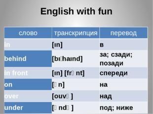 English with fun слово транскрипция перевод in [ın] в behind [bıʹhaınd] за; с
