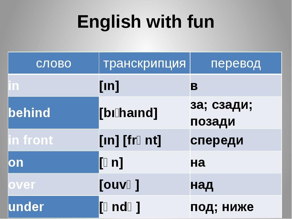 English with fun слово транскрипция перевод in [ın] в behind [bıʹhaınd] за; с...