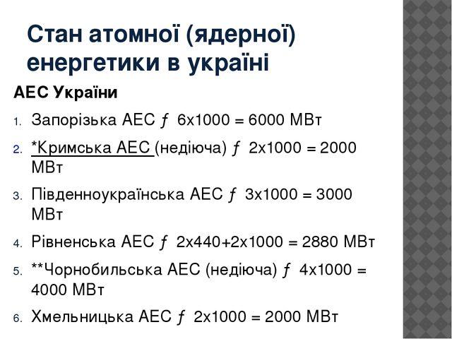 Стан атомної (ядерної) енергетики в україні АЕС України Запорізька АЕС→ 6x10...