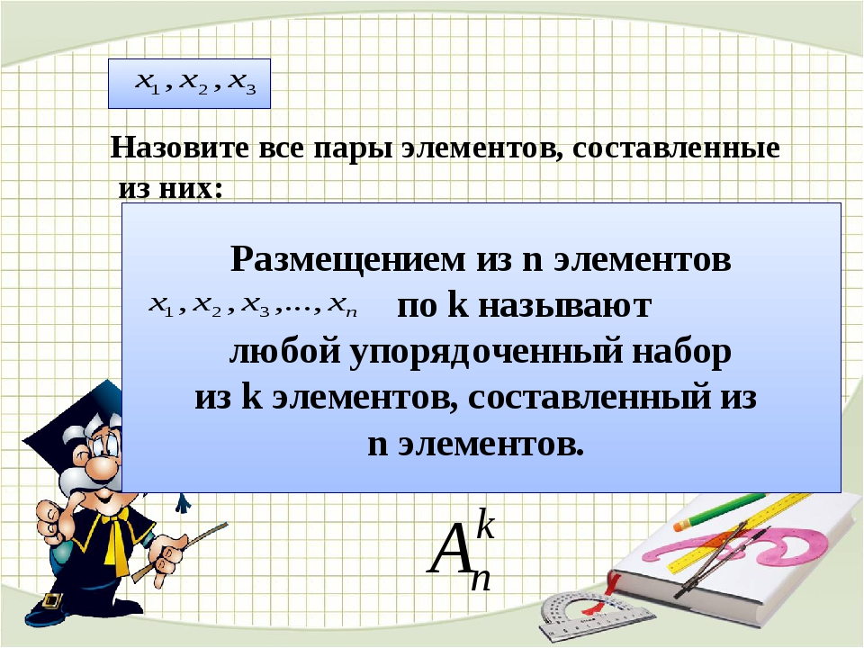 Назовите все пары элементов, составленные из них: Размещением из n элементов...