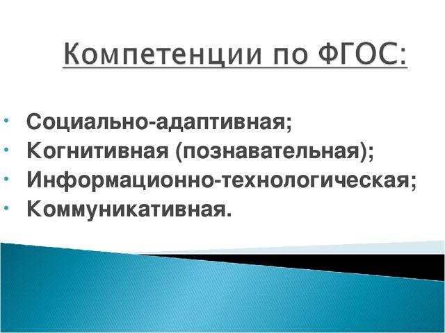 Социально-адаптивная; Когнитивная (познавательная); Информационно-технологич...