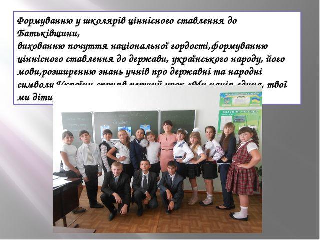 Формуванню у школярів ціннісного ставлення до Батьківщини, вихованню почуття...