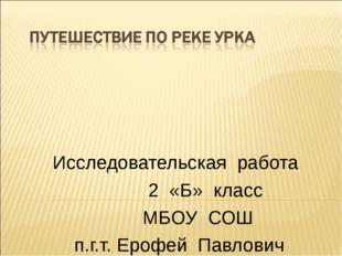 Исследовательская работа 2 «Б» класс МБОУ СОШ п.г.т. Ерофей Павлович Ученики