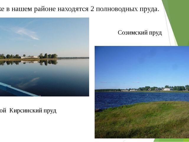 Так же в нашем районе находятся 2 полноводных пруда. Созимскийпруд Большой...
