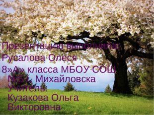 Презентацию выполнила: Русалова Олеся 8»А» класса МБОУ СОШ №5 г. Михайловска