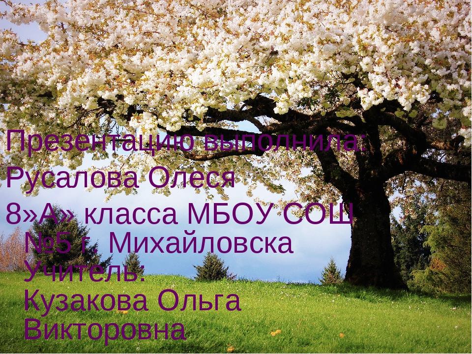 Презентацию выполнила: Русалова Олеся 8»А» класса МБОУ СОШ №5 г. Михайловска...