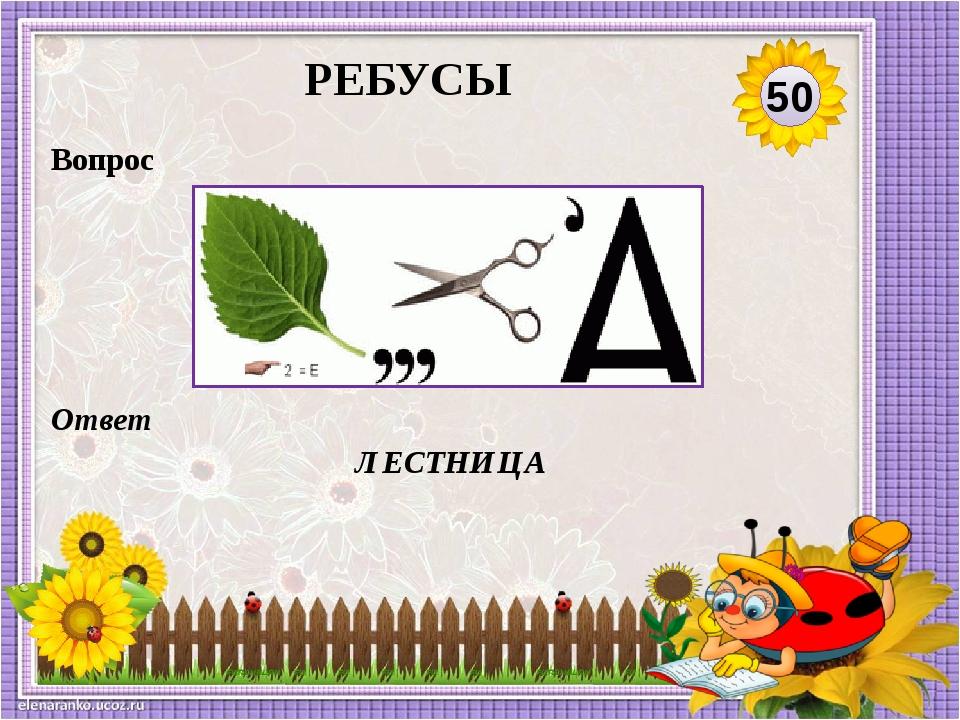 Ответ ЛЕСТНИЦА Вопрос 50 РЕБУСЫ