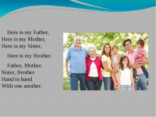 Here is my Father, Here is my Mother, Here is my Sister, Here is my Brother.