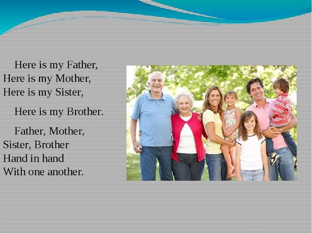 Here is my Father, Here is my Mother, Here is my Sister, Here is my Brother....