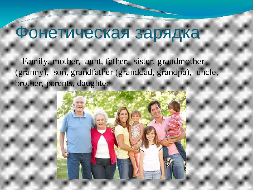 Фонетическая зарядка Family, mother, aunt, father, sister, grandmother (grann...