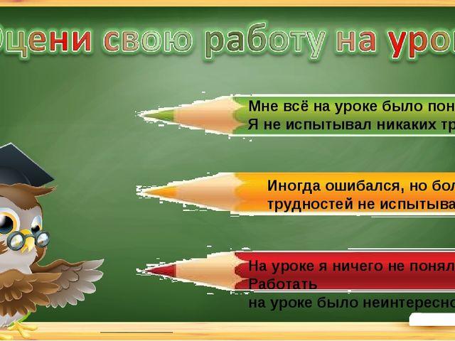 Мне всё на уроке было понятно. Я не испытывал никаких трудностей. Иногда ошиб...