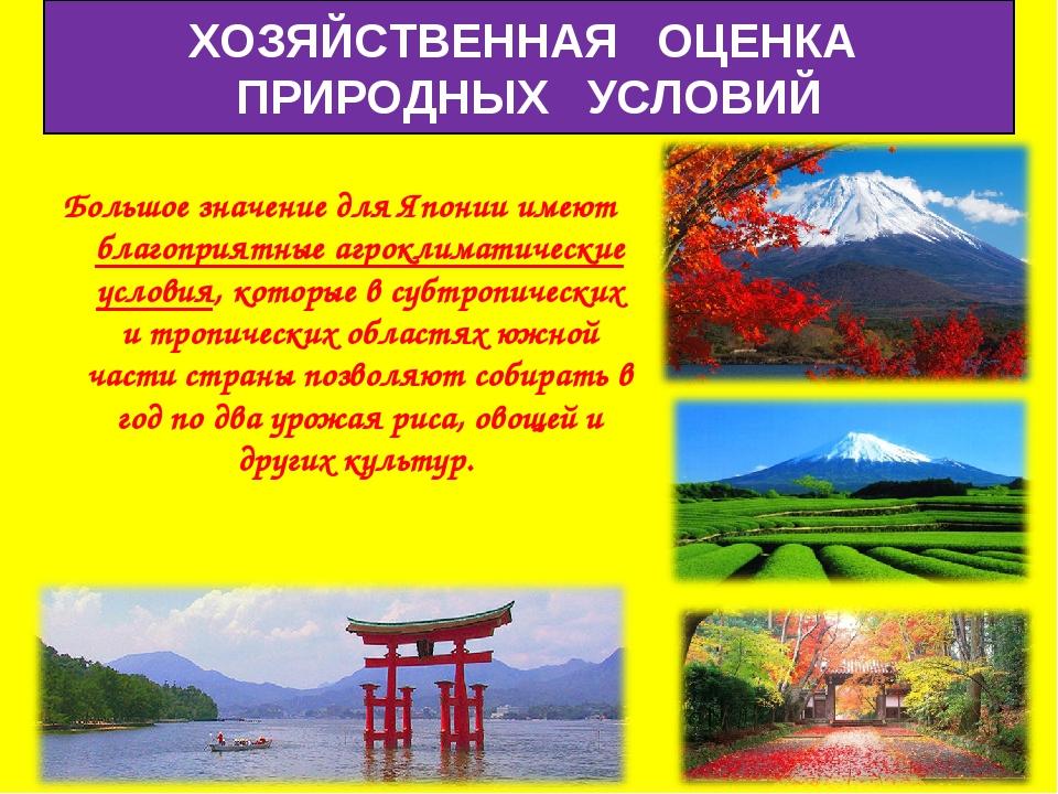 Большое значение для Японии имеют благоприятные агроклиматические условия, ко...